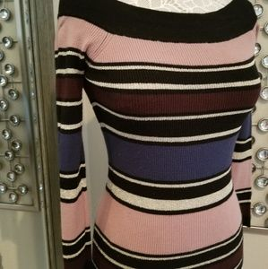 Off the shoulder striped fitted sweater